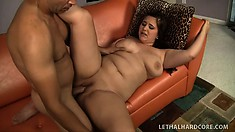 BBW Lexi Summer gets her big tits and cunt working on his prick