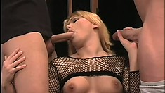 Katja Kassin gets horny and swallows two massive jackhammers