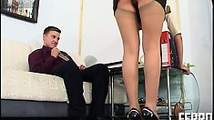Exciting Brunette Laura Finds It Hard To Resist Peter's Throbbing Cock